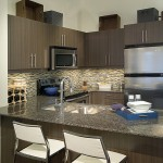 Rain Condos - model suite kitchen with stainless steel appliances and granite countertops