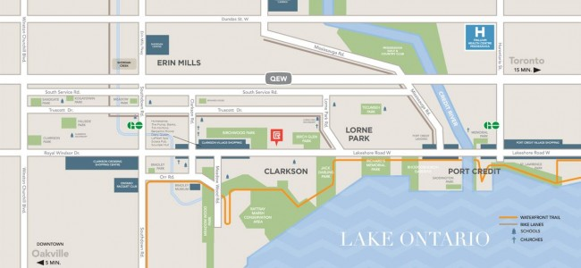 The Craftsman Condos Mississauga - lakeshore rd - area map