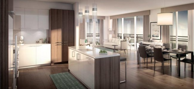 The Craftsman Condos Mississauga - lakeshore rd - condo interior kitchen dining rendering