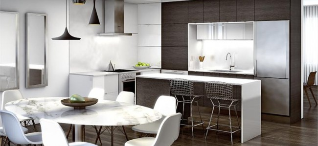 Trafalgar Landing Townhomes Oakville - townhomes interior kitchen and dining rendering
