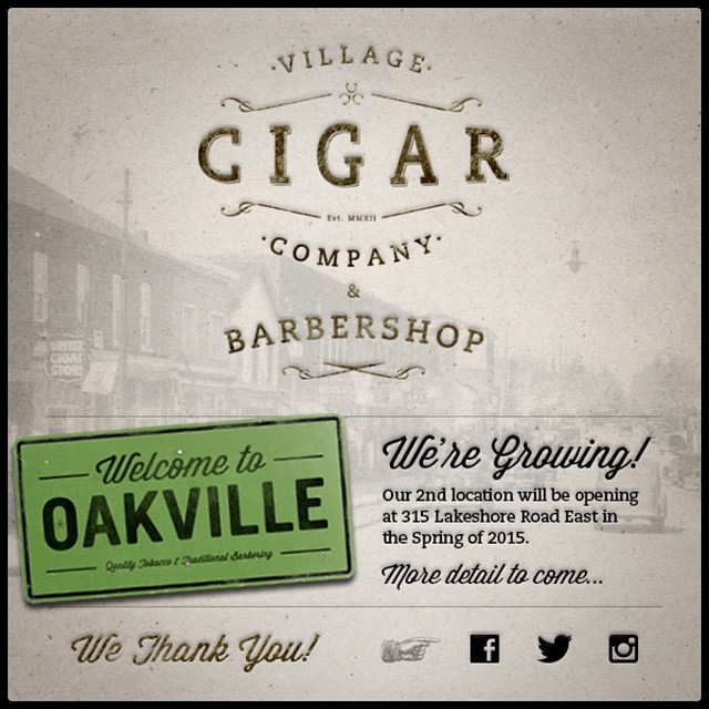 Village Cigar Company & Barbershop Oakville coming soon spring 2015